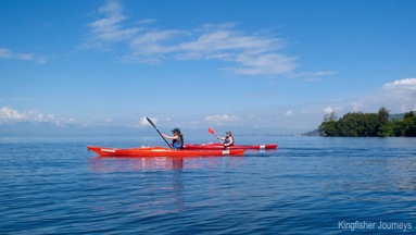 Explore stunning scenery on Lake Kivu, Rwanda, by sea kayak.